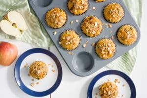 Apple Cheddar Cornbread Muffins with Muesli Topping