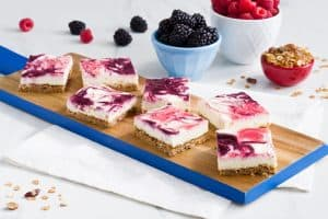 Red, White and Blue Cheesecake Squares